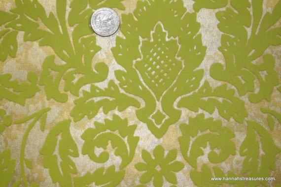 1970s Vintage Wa...1970s Wallpaper Green Leaves
