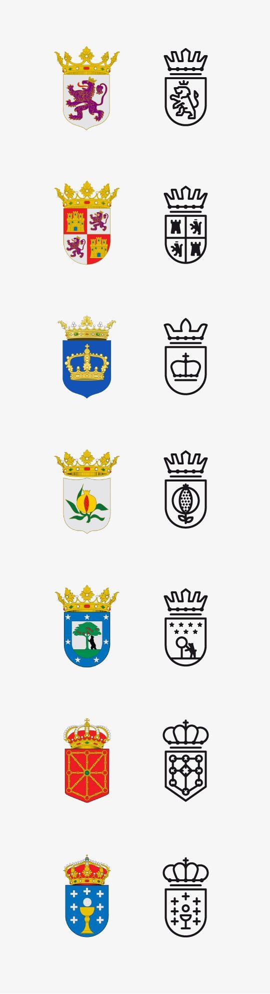 Escudos de Comunidades españolas en flat design