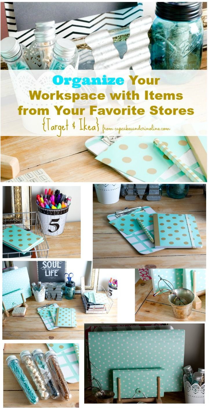 How to organize your workspace and office using items from Ikea and Target on a budget - it's also a pretty way to add pops of color to your office - from cupcakesandcrinoline.com