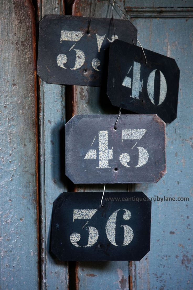 Antique French Bin Numbers - Vintage Metal Number Plates from eantiques on Ruby Lane