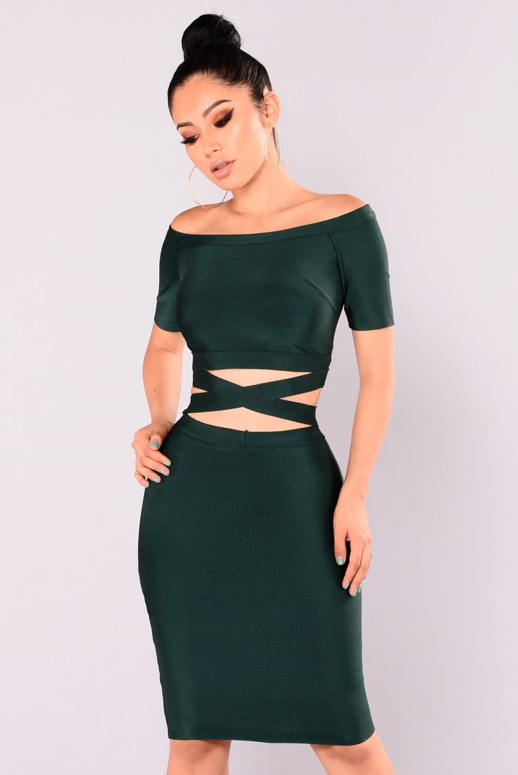 Excuse My Sass Bandage Dress - Hunter Green