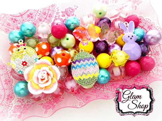Easter Beads DIY Chunky Bead Necklace Kit: Beads by GlamShopBeads