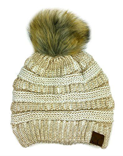 534371d49ff51 Plum Feathers Soft Stretch Cable Knit Ribbed Faux Fur Pom Pom Beanie Hat  (Ivory-Gold Metallic)#deals #sale #Christmas