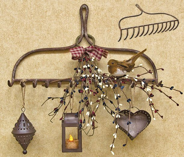 Rake Head - Use it to hold garden tools, home decor or even kitchen utensils. Very versatile and interesting!