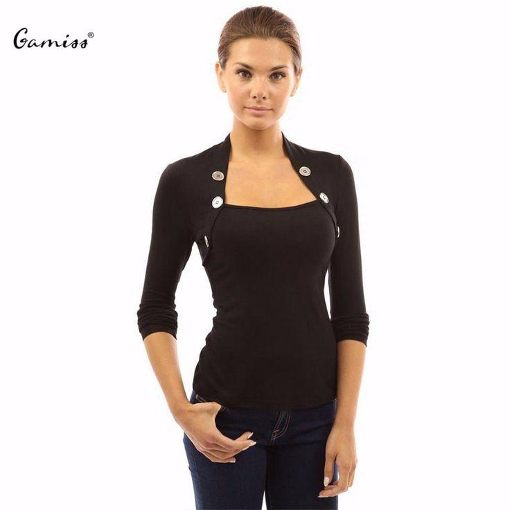 Fall Tee shirt Buttons Long Sleeve  http://mobwizard.com/product/femme-women32591940118/