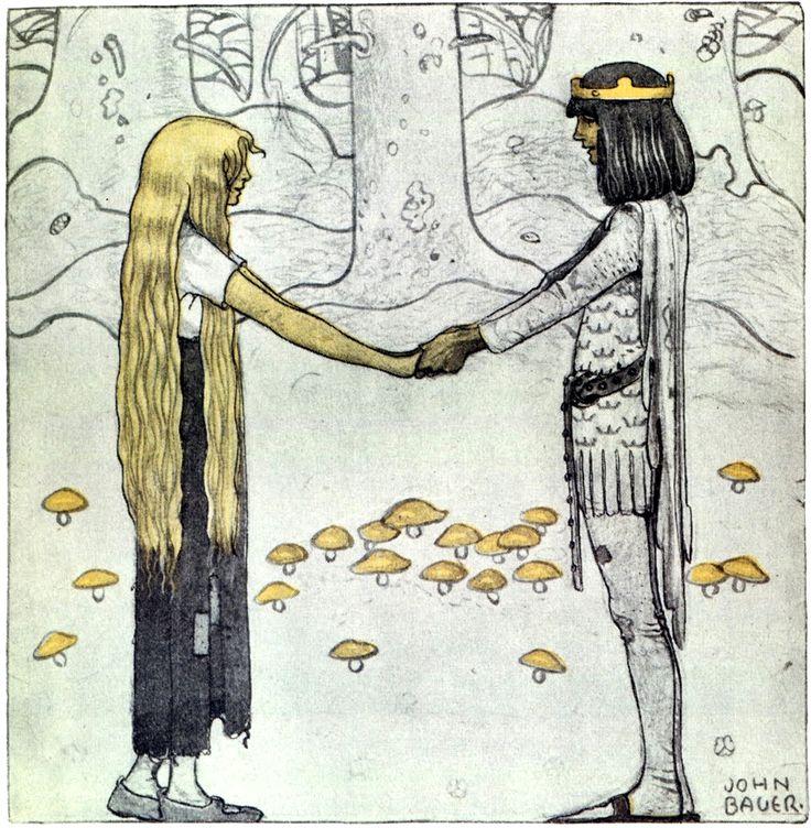 "Art by John Bauer (c 1915). A Swedish fairy tale, BLAND TOMTAR OCH TROLL."""