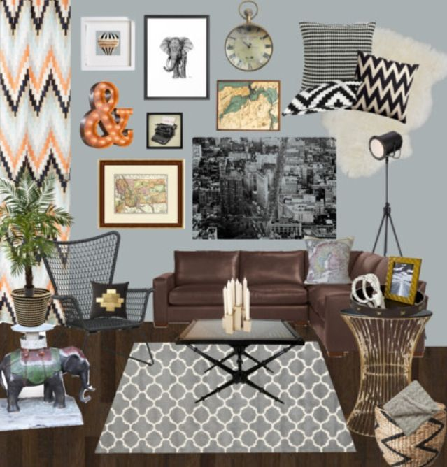 Living Room | Grey, Black, Brown, Coral, Gold, Maps, Worldly Part 73