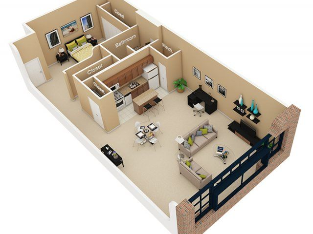 17 best images about 1 bedroom floor plans on pinterest for Plan de loft