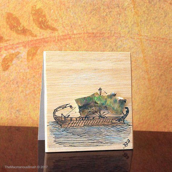 An ancient ship #inkdrawing on balsawood card with an #abalon sail ~  #balsawood