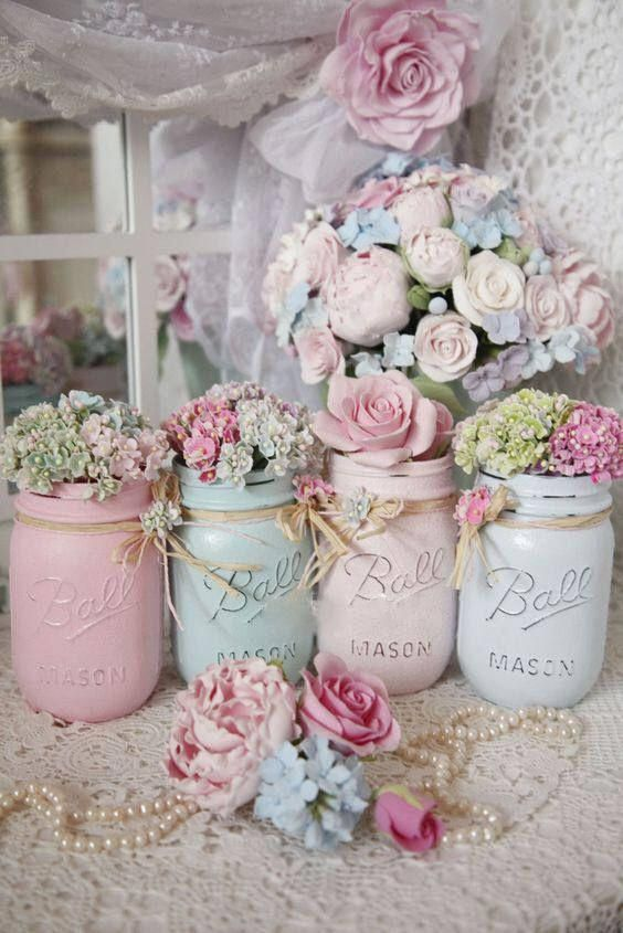 Shabby Chic Painted Mason Jar Centerpiece Decor Vase Wedding Bridal Baby Shower Birthday Party Mothers Day Hostess Gift Sweet Vintage Design – pixelcolours | Free Fonts, Graphic Design Elements & Inspiration