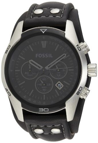 Fossil Men's CH2586 Sports Chronograph Leather Cuff Black Dial Watch Add it to your wishlist at yourwishfromme.com