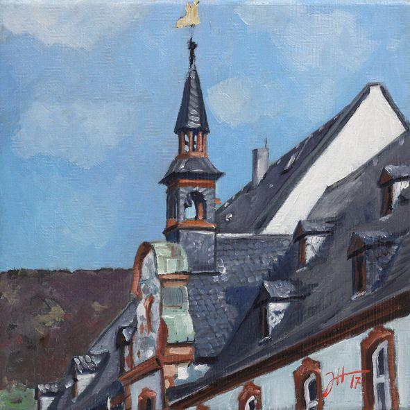 "TrierPlus Tag 7, ""Cusanusstift – Bernkastel-Kues"" 20×20 cm, Öl auf Leinwand © Josef Hammen 2017 St. Nikolaus-Hospital/ Cusanusstift"