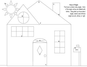 "Angles worksheet: Acute, Obtuse, Right- ""House of Angles"" 