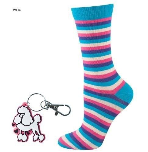 Striped socks with key ring – turquoise/pink/purple/white   WOMEN \ Socks   SOXO socks, slippers, ballerina, tights online shop