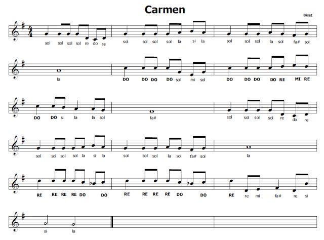 Musica e spartiti gratis per flauto dolce: Carmne di Bizet
