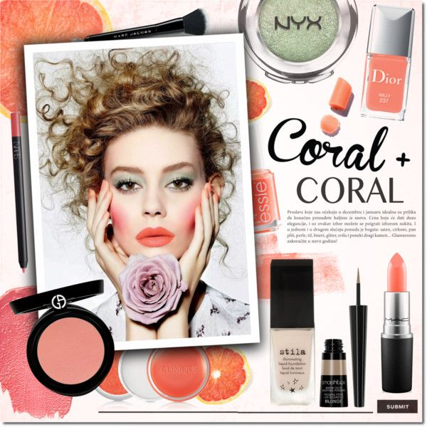 Colal & Coral by justlovedesign on Polyvore featuring beauty, NYX, Armani Beauty, Stila, MAC Cosmetics, Smashbox, NARS Cosmetics, Marc Jacobs, Clinique and Christian Dior