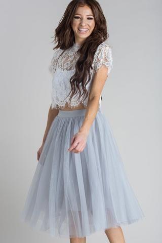 952775b798 Eloise Grey Tulle Midi Skirt Tulle Skirts