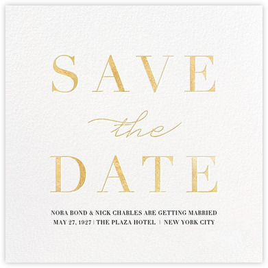 Gold press email save the date from Paperless Post