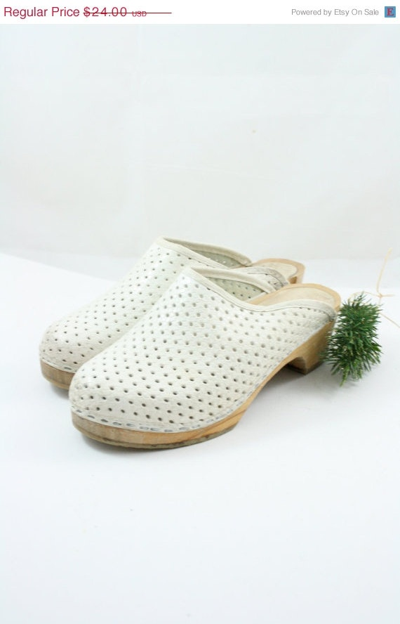 1970s vintage white leather perforated swedish clogs 6
