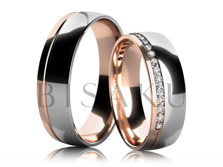 4582 Elegantní snubní prsteny v kombinaci bílého a červeného zlata v lesklém…