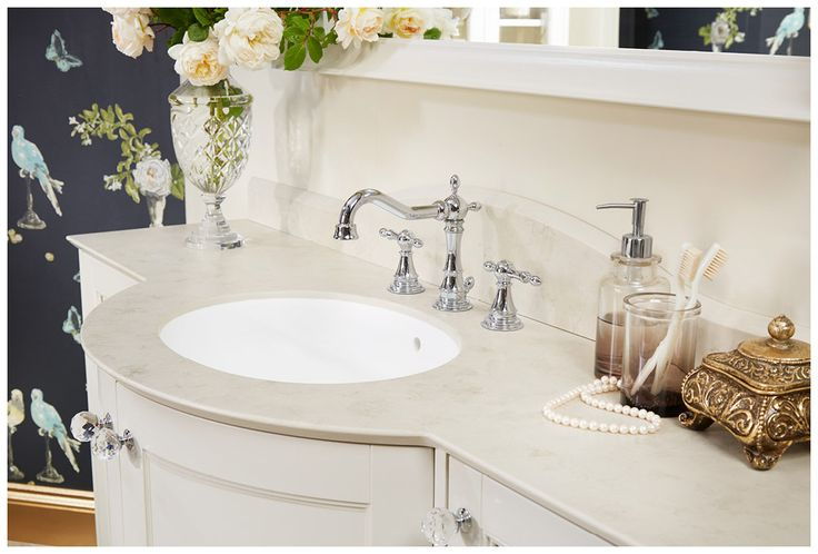 20mm moonscape solid surface marble effect worktop and matching upstand #Roseberry #paintedtimber #bathroomfurniture #myutopia