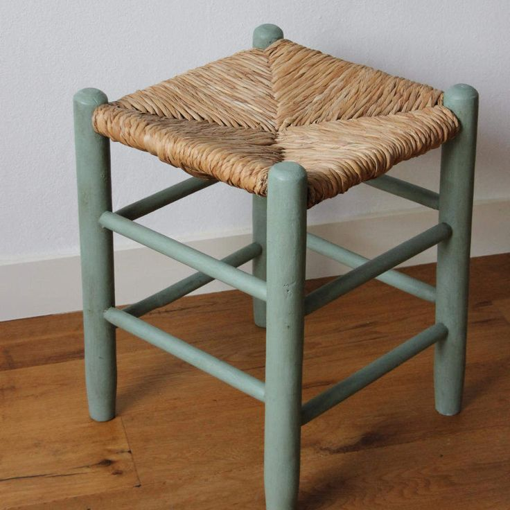 Wooden stool with wicker reed seat; pimped in blue shabby chic style door KijkMaris op Etsy
