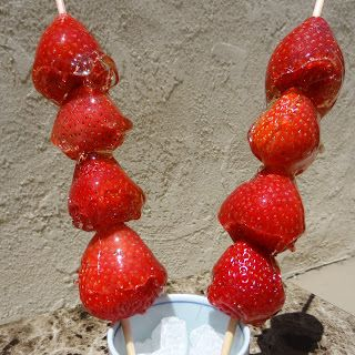 Miss Mochi's Adventures: Strawberry Bing Tanghulu (冰糖葫芦)--treats like in 'Little Pear' :) Joss will love this!