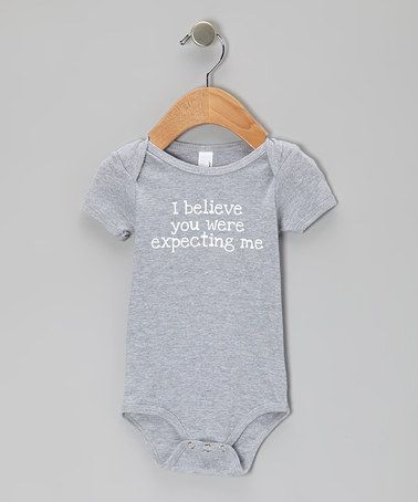 Take a look at this Gray 'Expecting Me' Bodysuit - Infant by Skyhawk Press on #zulily today!