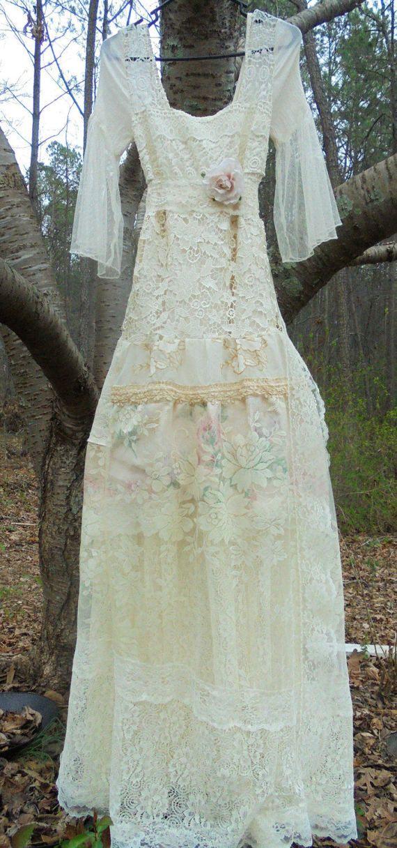 Uncinetto pizzo floreale abito da sposa avorio di vintageopulence