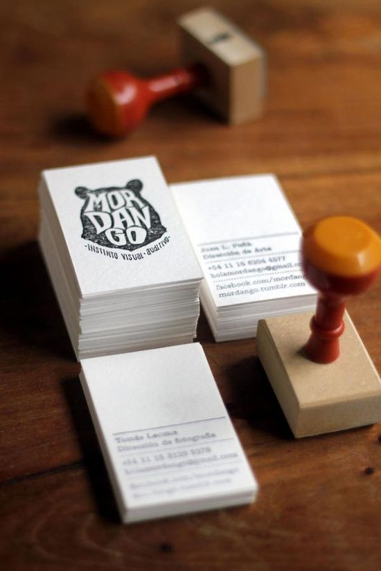Stempel + simpel zwartwit kaartje = opvallende visitekaartje...or get Sweeps to do all your design work! http://www.sweeps.jobs
