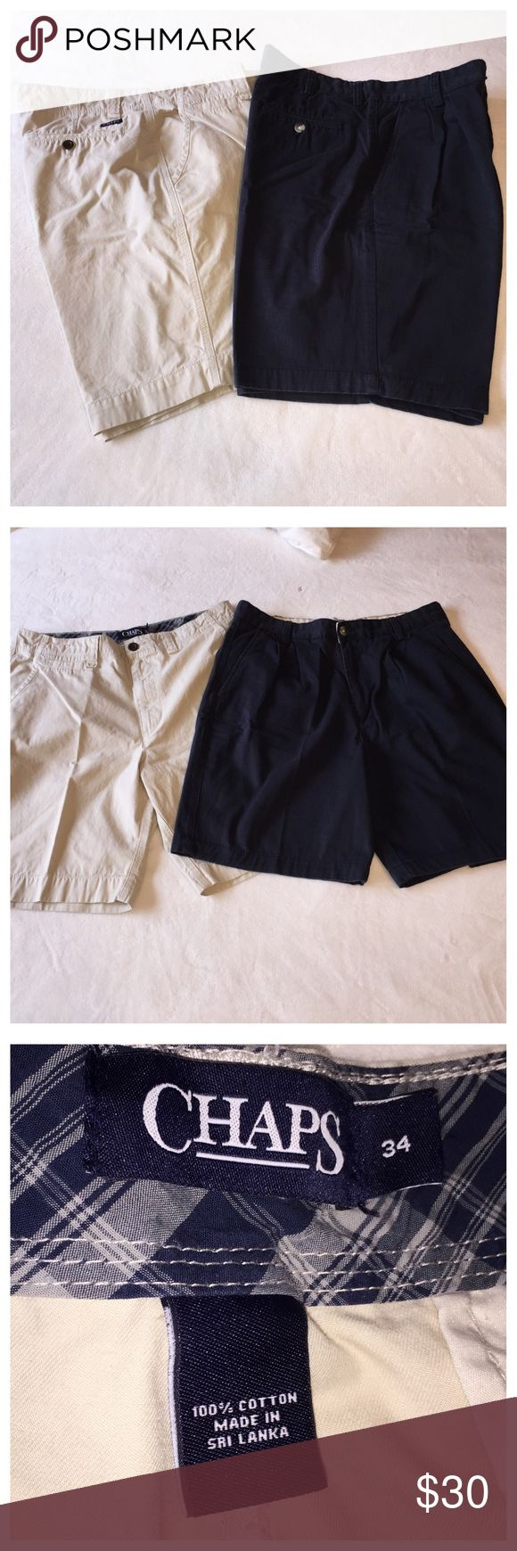 Chaps Men's Khaki Shorts Khaki pair is Chaps, blue pair is Boca Classics•Size 34•Blue pair Pleated front•NWOT•Selling together!!! Chaps Shorts
