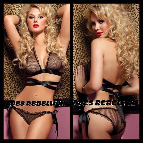 Naughty Fishnet 2pc Lingerie SET Sexy see through black ribbon wrap bikini. stripper dancer wear Intimates & Sleepwear
