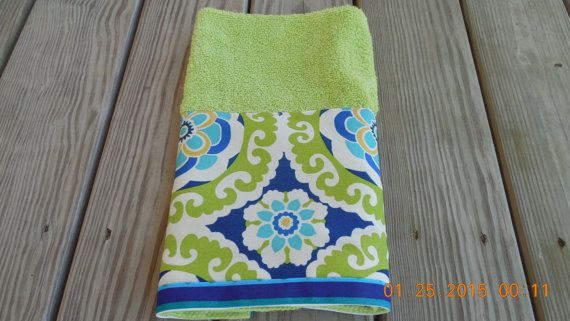 Hand Towel Navy Lime Green Teal Ikat Decorative Kitchen Bath Towel Abstract Modern Home Decor