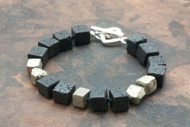 Santorini Lava Bracelet, Raw Pyrite & Black Lava Cubes Bracelet, Geometric Bracelet, Lava Jewelry, Pyrite Jewelry,Men/Women Black Bracelet - pinned by pin4etsy.com
