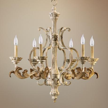 Quorum Florence 27 Wide 6 Light Parisian White Chandelier W5252 Lampsplus