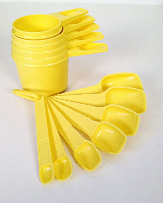 vintage Tupperware yellow measuring cups and by forrestinavintage, $16.00