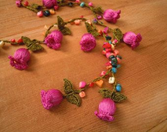 long crochet necklace, pink tulip