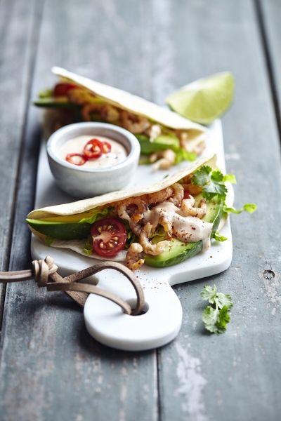 Tortilla's met Noordzeegarnaal (seizoen garnalen: aug tot dec)