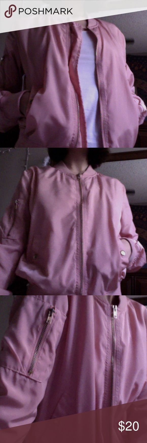 Really cute pink bomber jacket! Really cute pink bomber jacket with cool zip on the sleeve :) Bought this for $30 but it doesnt fit me as oversized as I'd want it to! Size small modeled on XS #tumblr #pink #bomberjacket #aesthetic #cheap #budget #fashion Sweaters