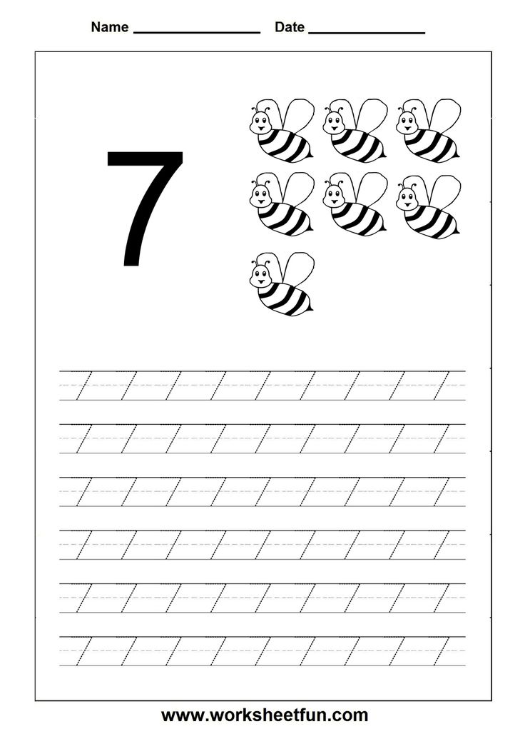 number tracing worksheet 7 homeschooling number tracing pinterest tracing worksheets. Black Bedroom Furniture Sets. Home Design Ideas