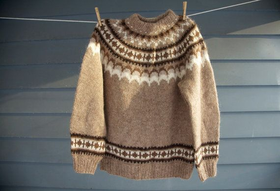 Vintage Icelandic Sweater Mens Wool Knit Jumper Brown and White Scandinavian Winter Fashion