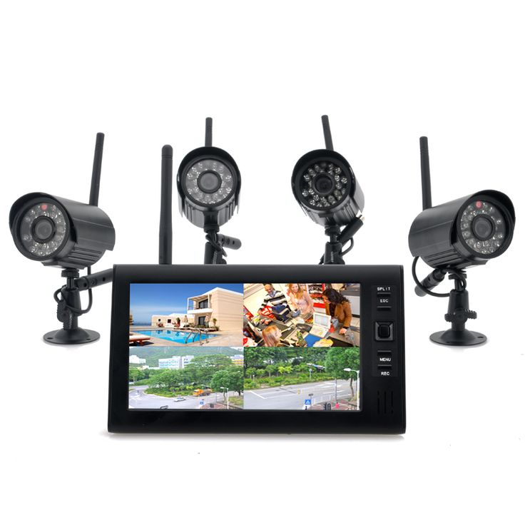 Securial - Wireless Home Security Camera DVR System (300m, 4 Indoor Wireless Cameras, 7 Inch Wireless Monitor)