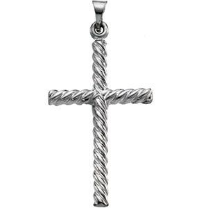 Twisted Rope Cross Pendant 14K White Gold
