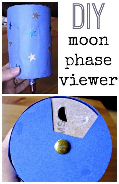 Great recycled craft! Moon phase activity for kids. Build a moon phase viewer.