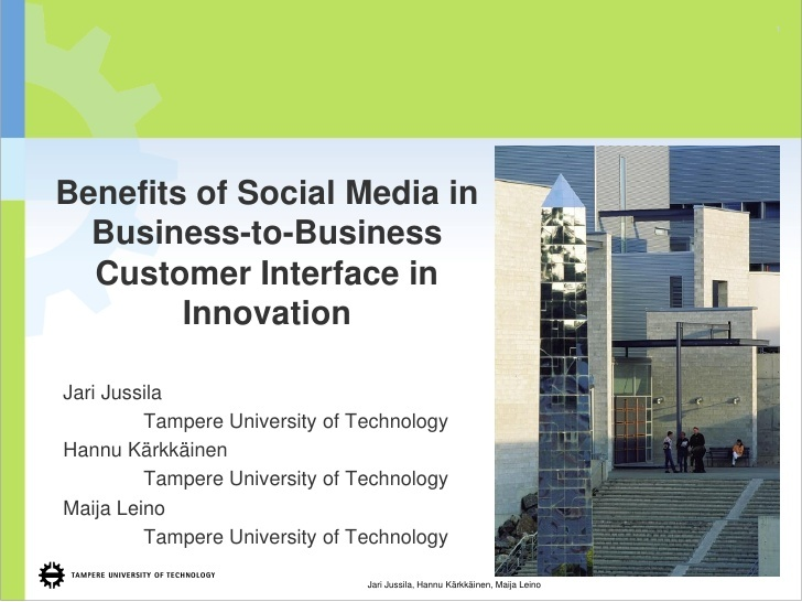 Benefits of Social Media in Business-to-Business Customer Interface in Innovation