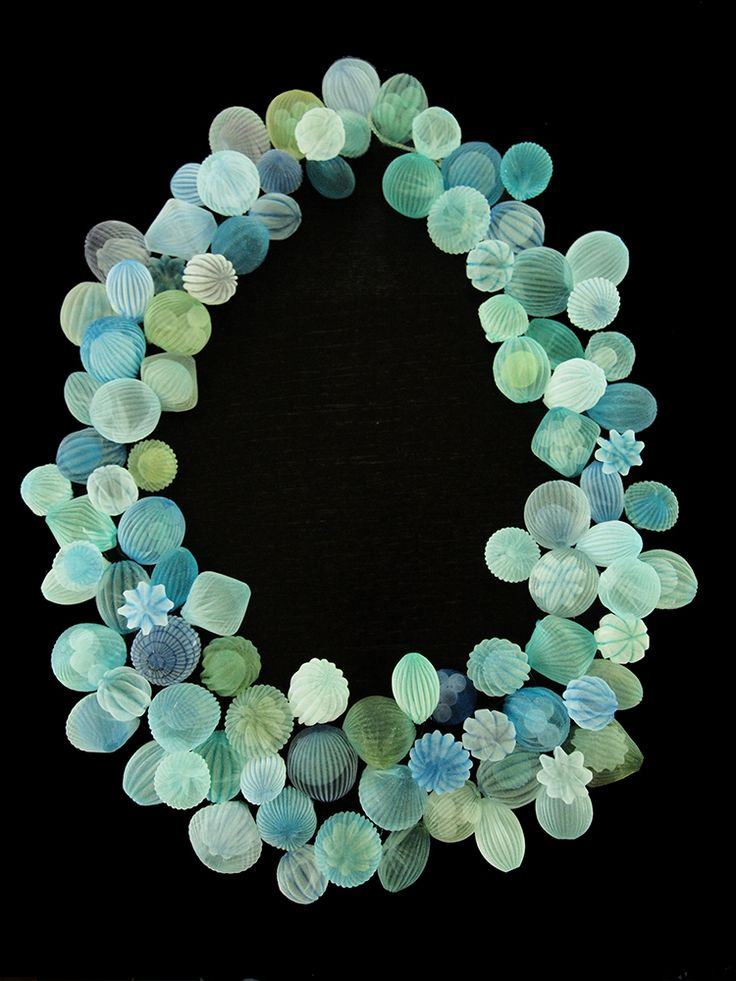 Mariko Kusumoto ~ Necklace: Polyester + thread 7.5 x 12 x 1.2 in. *metalsmith exploring processes with polyester, which when heated can permanently retain the shape you create.* via Mobilia Gallery | Translucent Explorations II Exhibit 2015