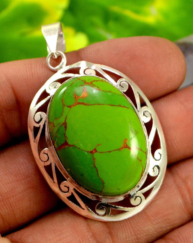 Natural Green Turquoise Gemstone .925 Silver Plated Pendant  Jewelry GNP689 #krishnagemsnjewels #Pendant