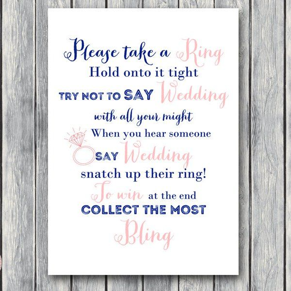 Don't Say a word Game, Take a Ring Game, Navy & Pink Bridal shower game th15