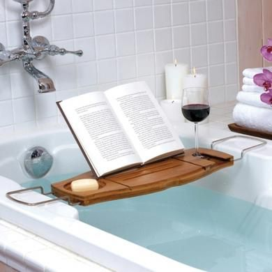 Aquala Bamboo Bath Caddy, in the cooler months there is no better way than to thaw out and relax than taking a nice hot bath. The Bamboo Bath caddy makes it all the more enjoyable.  With a book rest and non spill wine glass holder, this is 5 star living in your own home. Available from Howards Storage World.