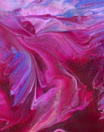 blued - encaustic abstract by Jolie B Studios